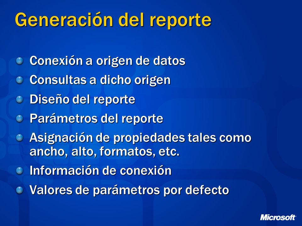 Generación del reporte Conexión a origen de datos Consultas a dicho origen Diseño del reporte Parámetros del reporte Asignación de propiedades tales c