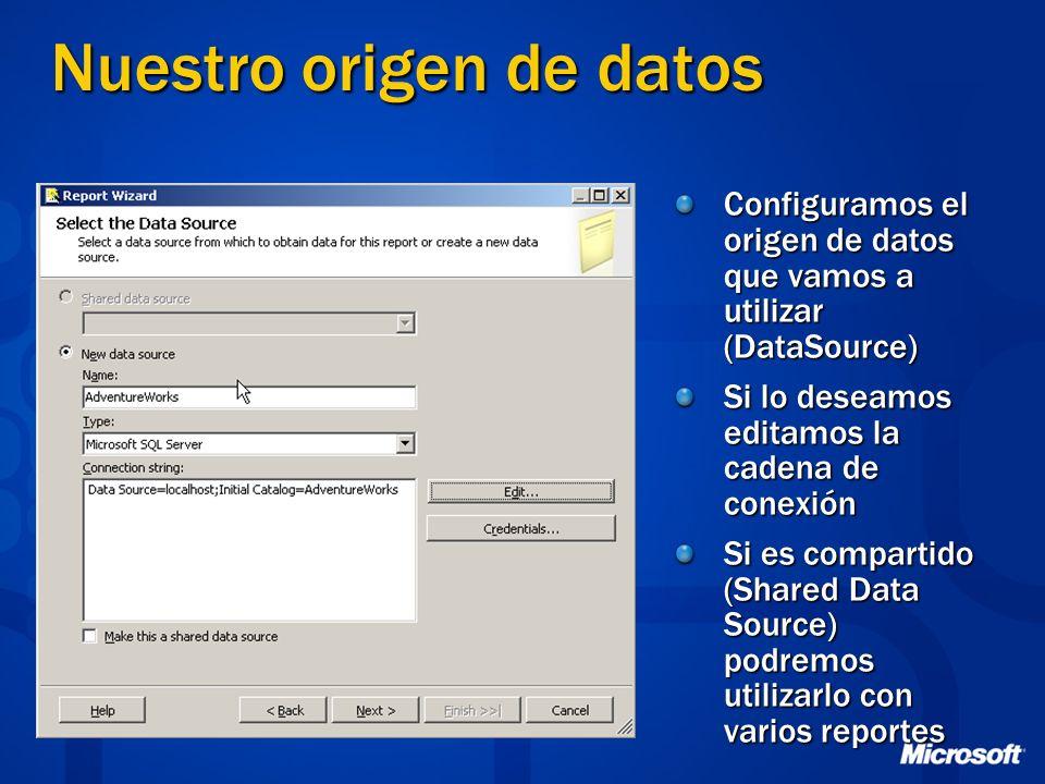 Nuestro origen de datos Configuramos el origen de datos que vamos a utilizar (DataSource) Si lo deseamos editamos la cadena de conexión Si es comparti
