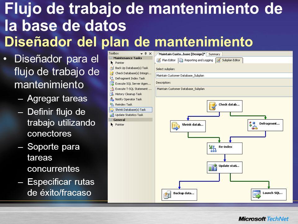 Flujo de trabajo de mantenimiento de la base de datos Diseñador del plan de mantenimiento Diseñador para el flujo de trabajo de mantenimiento –Agregar tareas –Definir flujo de trabajo utilizando conectores –Soporte para tareas concurrentes –Especificar rutas de éxito/fracaso