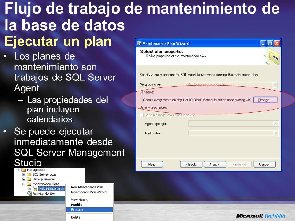 Flujo de trabajo de mantenimiento de la base de datos Ejecutar un plan Los planes de mantenimiento son trabajos de SQL Server Agent –Las propiedades del plan incluyen calendarios Se puede ejecutar inmediatamente desde SQL Server Management Studio
