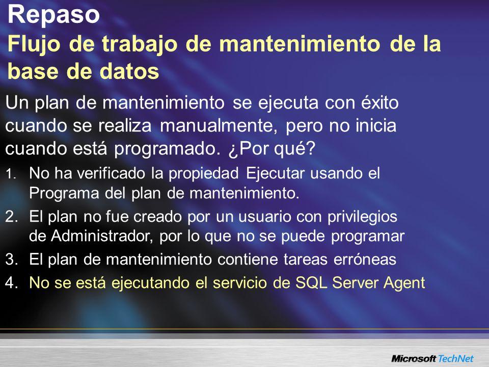 Repaso Flujo de trabajo de mantenimiento de la base de datos Un plan de mantenimiento se ejecuta con éxito cuando se realiza manualmente, pero no inicia cuando está programado.