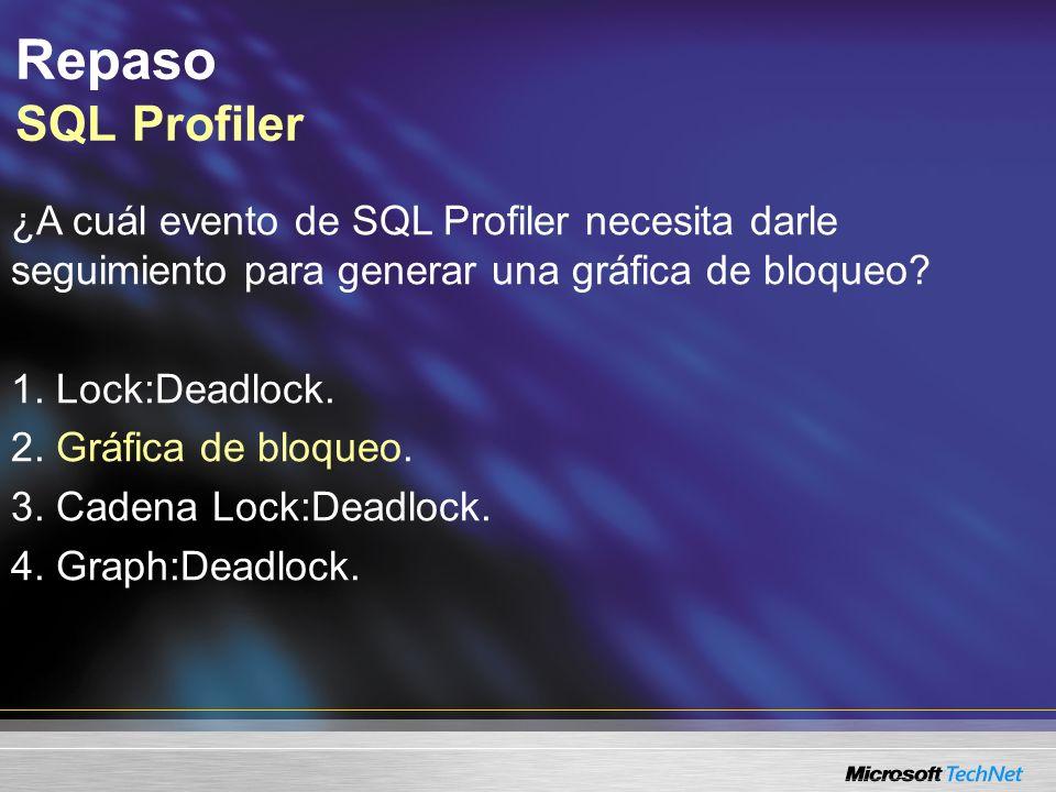 Repaso SQL Profiler ¿A cuál evento de SQL Profiler necesita darle seguimiento para generar una gráfica de bloqueo.