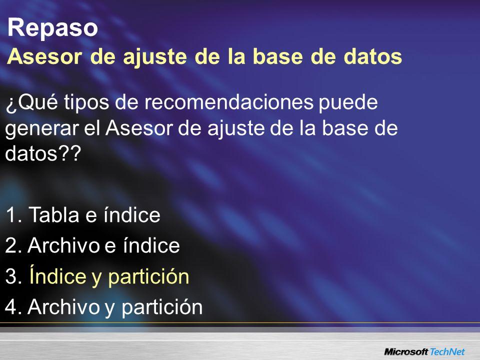 Repaso Asesor de ajuste de la base de datos ¿Qué tipos de recomendaciones puede generar el Asesor de ajuste de la base de datos .