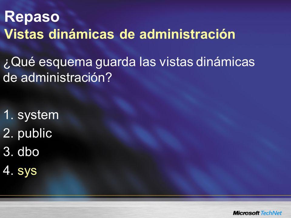 Repaso Vistas dinámicas de administración ¿Qué esquema guarda las vistas dinámicas de administración.