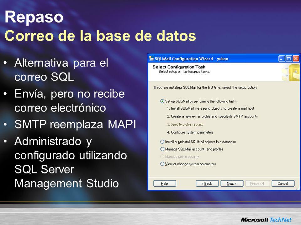 Repaso Correo de la base de datos Alternativa para el correo SQL Envía, pero no recibe correo electrónico SMTP reemplaza MAPI Administrado y configurado utilizando SQL Server Management Studio