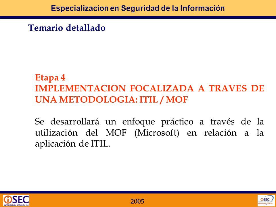 Especializacion en Seguridad de la Información 2005 Etapa 3 IMPLEMENTACION PRACTICA DEL PROGRAMA DE SEGURIDAD – Parte 2 Se desarrollará la segunda parte de la Metodología Práctica de Implementación de los criterios de seguridad (Módulos Funcionales 7 a 12).