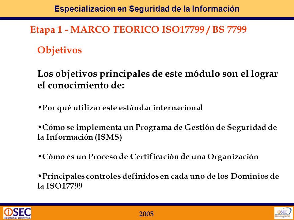 Especializacion en Seguridad de la Información 2005 Etapa 4 IMPLEMENTACION FOCALIZADA A TRAVES DE UNA METODOLOGIA: ITIL / MOF Se desarrollará un enfoq