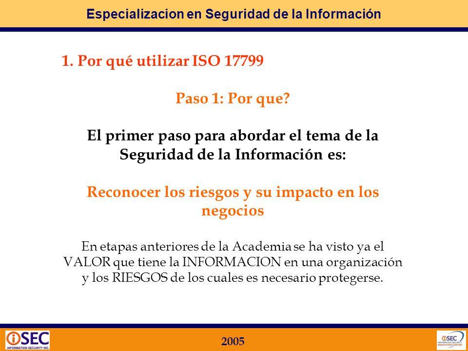 Especializacion en Seguridad de la Información 2005 Objetivos Los objetivos principales de este módulo son el lograr el conocimiento de: Por qué utilizar este estándar internacional Cómo se implementa un Programa de Gestión de Seguridad de la Información (ISMS) Cómo es un Proceso de Certificación de una Organización Principales controles definidos en cada uno de los Dominios de la ISO17799 Etapa 1 - MARCO TEORICO ISO17799 / BS 7799