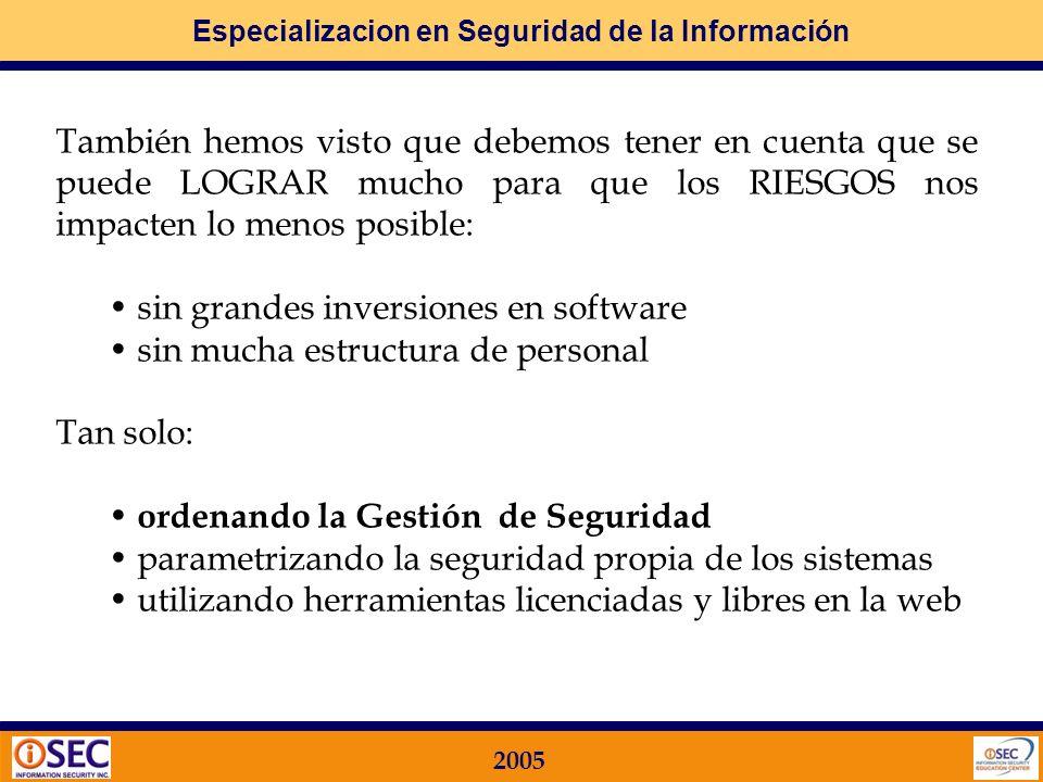 Especializacion en Seguridad de la Información 2005 1. Por qué utilizar ISO 17799 Paso 1: Por que? El primer paso para abordar el tema de la Seguridad