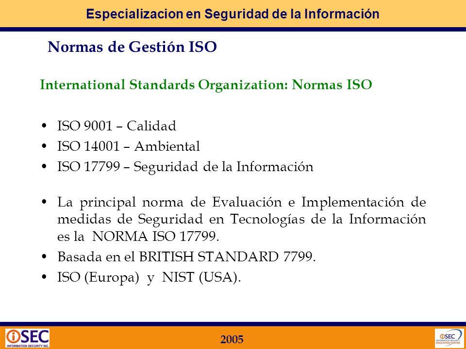 Especializacion en Seguridad de la Información 2005 Entre los distintos organismos relacionados comercial y/o institucionalmente con los temas de Segu