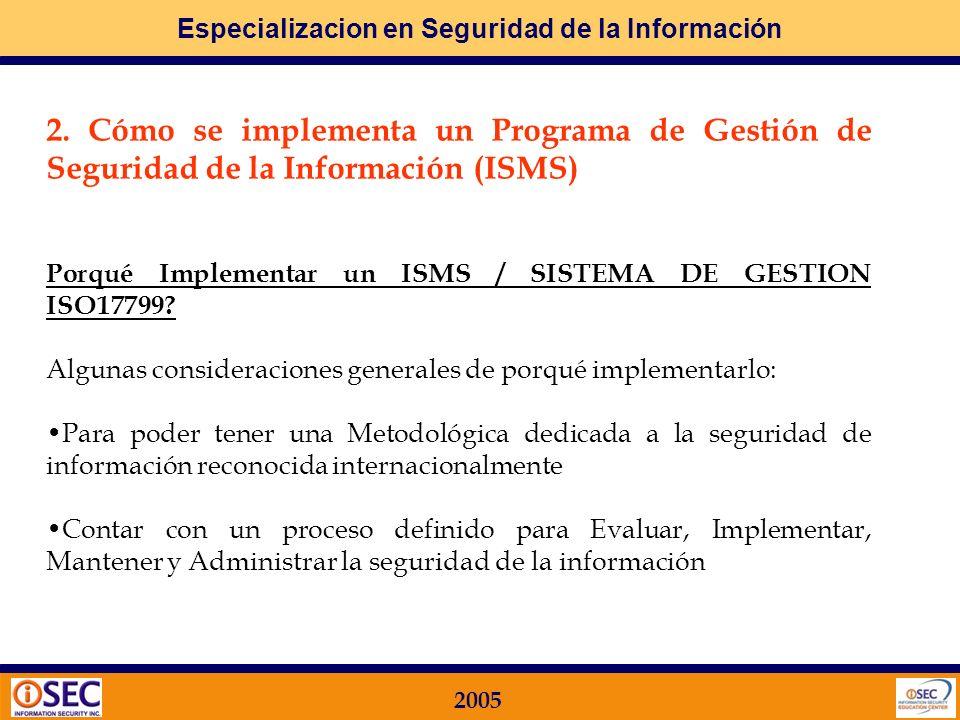 Especializacion en Seguridad de la Información 2005 En la actualidad Hoy en día la MAYORIA de las ORGANIZACIONES en el Mundo que están utilizando ISO17799 están en la primera etapa de NORMALIZACION alinéandose con los REQUERIMIENTOS a través de la IMPLEMENTACION del ISMS (INFORMATION SECURITY MANAGEMENT SYSTEM).