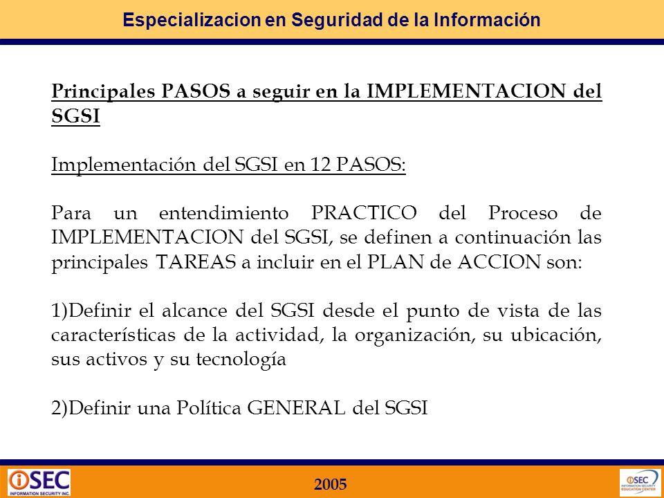 Especializacion en Seguridad de la Información 2005 Planificar Hacer Actuar Verificar SGSI SISTEMA DE GESTION DE SEGURIDAD DE LA INFORMACION Está basado en el Modelo utilizado por las NORMAS ISO en general: