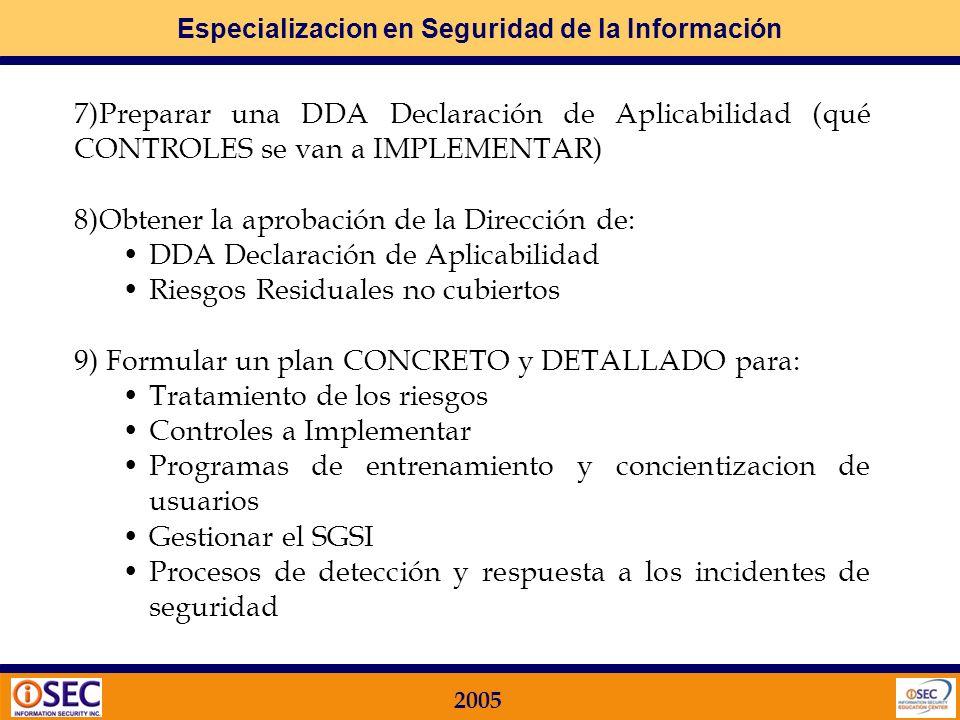 Especializacion en Seguridad de la Información 2005 6)Seleccionar objetivos de control y controles específicos a IMPLMENTAR El detalle de los controle