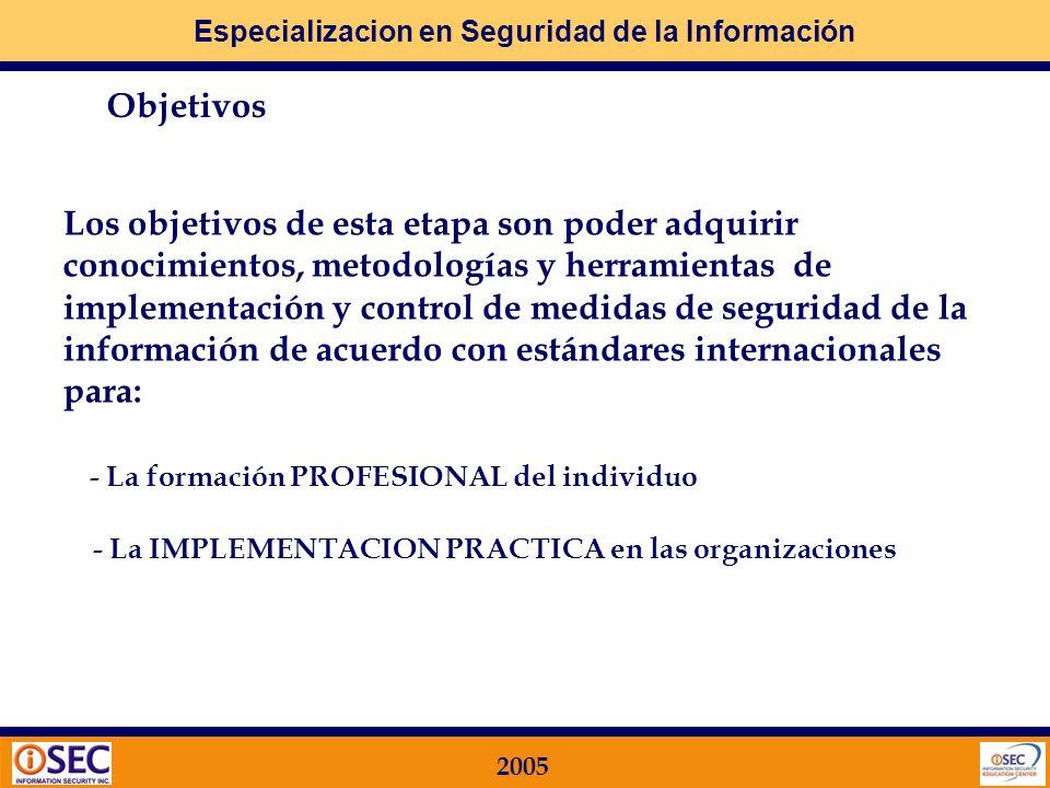 Especializacion en Seguridad de la Información 2005 Objetivos Los objetivos de esta etapa son poder adquirir conocimientos, metodologías y herramientas de implementación y control de medidas de seguridad de la información de acuerdo con estándares internacionales para: - La formación PROFESIONAL del individuo - La IMPLEMENTACION PRACTICA en las organizaciones