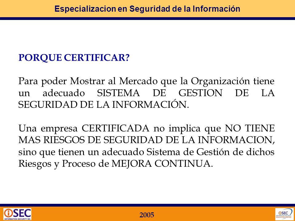 Especializacion en Seguridad de la Información 2005 QUÉ ES CERTIFICAR? El proceso de Certificación es la Generación de un INFORME Firmado por parte de