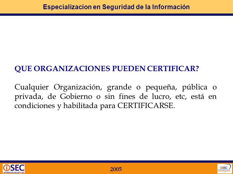 Especializacion en Seguridad de la Información 2005 PORQUE CERTIFICAR? Para poder Mostrar al Mercado que la Organización tiene un adecuado SISTEMA DE