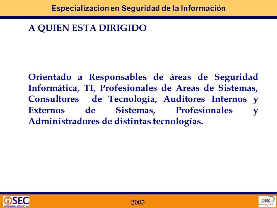 Especializacion en Seguridad de la Información 2005 A QUIEN ESTA DIRIGIDO Orientado a Responsables de áreas de Seguridad Informática, TI, Profesionales de Areas de Sistemas, Consultores de Tecnología, Auditores Internos y Externos de Sistemas, Profesionales y Administradores de distintas tecnologías.