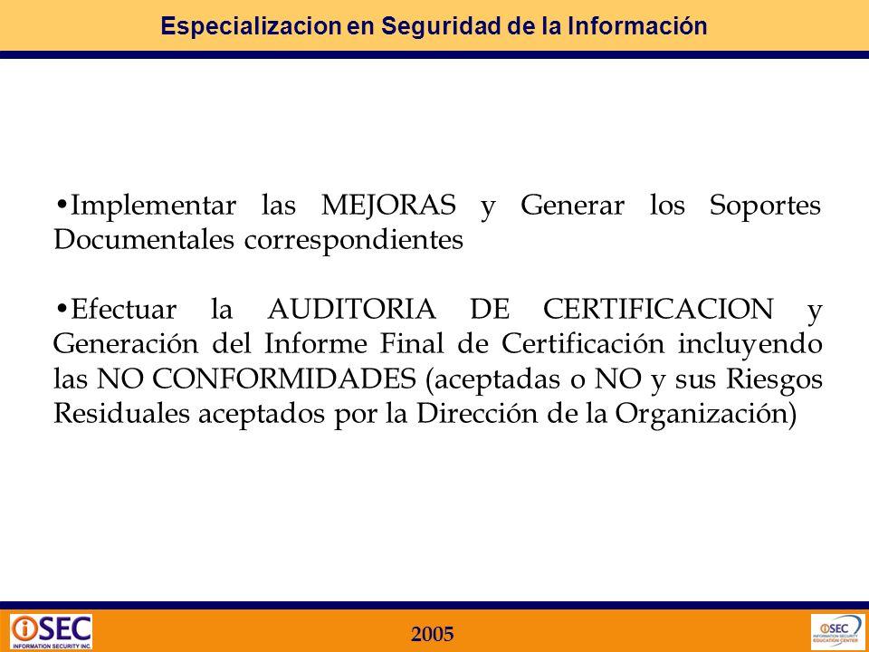 Especializacion en Seguridad de la Información 2005 Los principales PASOS son: Preparar la Documentación Soporte a Presentar Efectuar la PREAUDITORIA