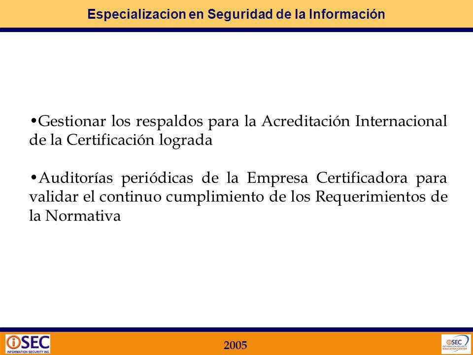 Especializacion en Seguridad de la Información 2005 Implementar las MEJORAS y Generar los Soportes Documentales correspondientes Efectuar la AUDITORIA