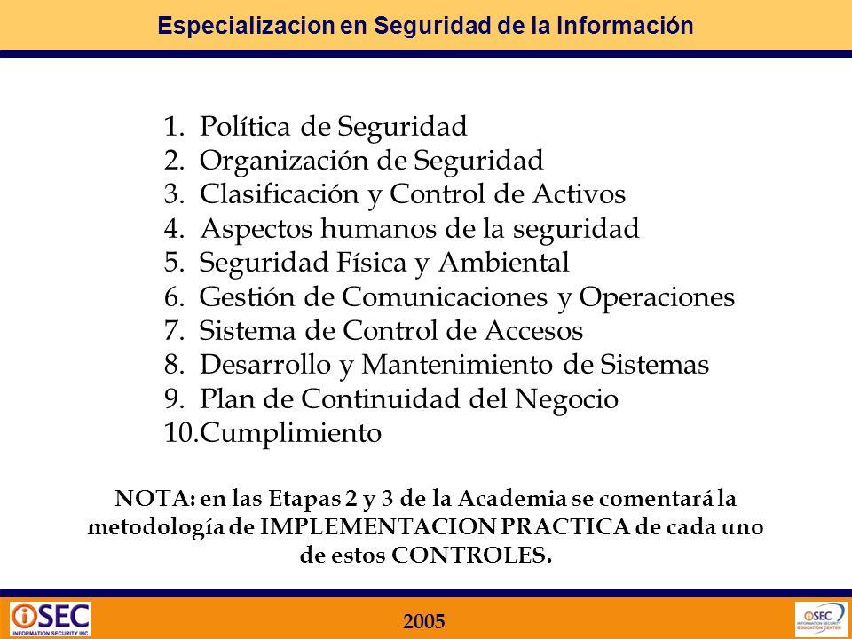 Especializacion en Seguridad de la Información 2005 4.