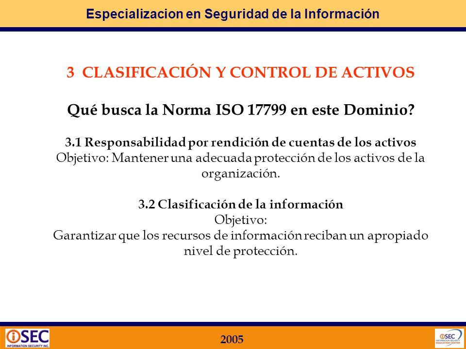Especializacion en Seguridad de la Información 2005 2.2 Seguridad frente al acceso por parte de terceros Objetivo: Mantener la seguridad de las instalaciones de procesamiento de información y de los recursos de información de la organización a los que acceden terceras partes.