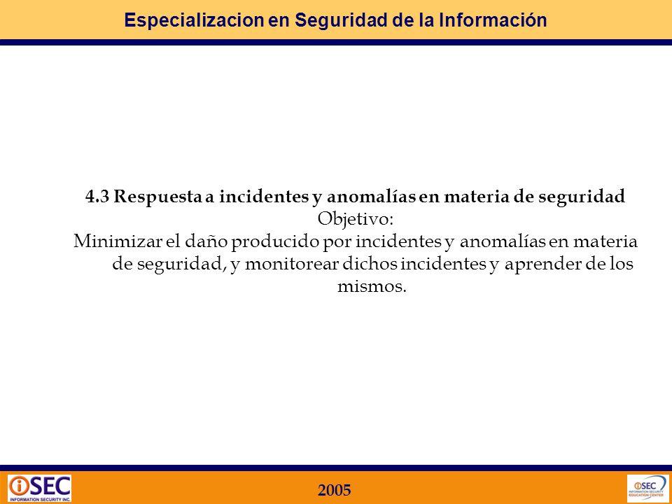 Especializacion en Seguridad de la Información 2005 4SEGURIDAD DEL PERSONAL Qué busca la Norma ISO 17799 en este Dominio? 4.1 Seguridad en la definici