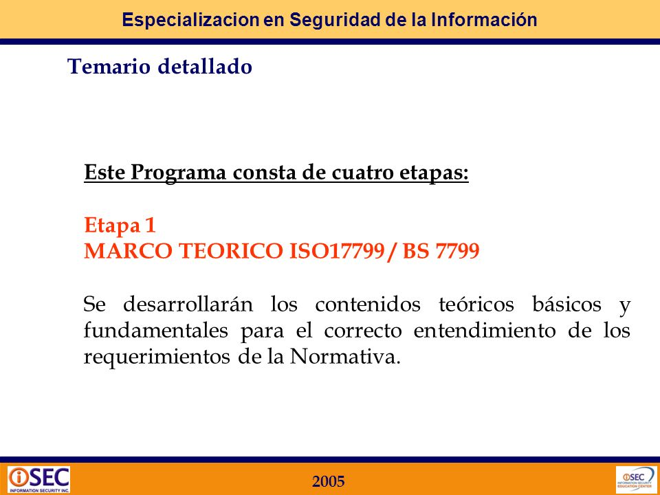 Especializacion en Seguridad de la Información 2005 Director Acad é mico e Instructor Martín Vila Business Director I -Sec Information Security (2002-