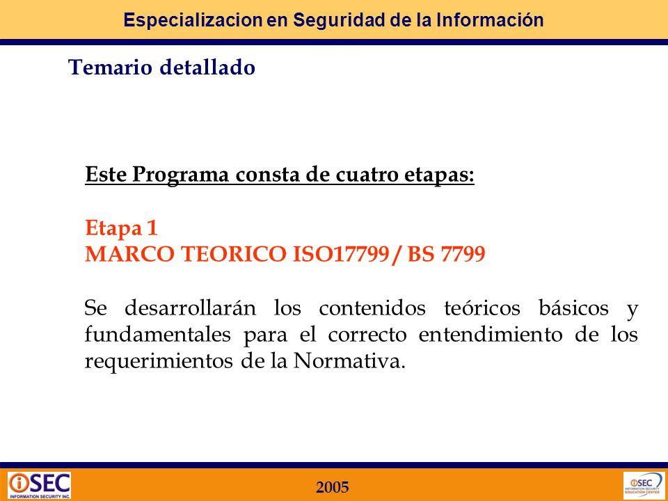 Especializacion en Seguridad de la Información 2005 Este Programa consta de cuatro etapas: Etapa 1 MARCO TEORICO ISO17799 / BS 7799 Se desarrollarán los contenidos teóricos básicos y fundamentales para el correcto entendimiento de los requerimientos de la Normativa.