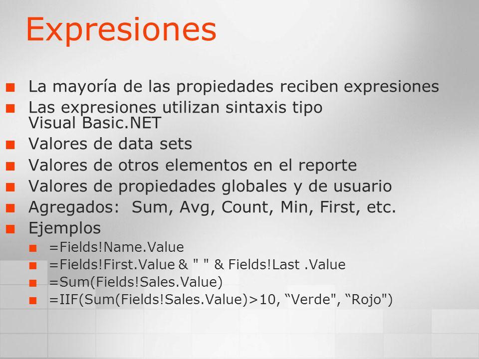 Expresiones La mayoría de las propiedades reciben expresiones Las expresiones utilizan sintaxis tipo Visual Basic.NET Valores de data sets Valores de