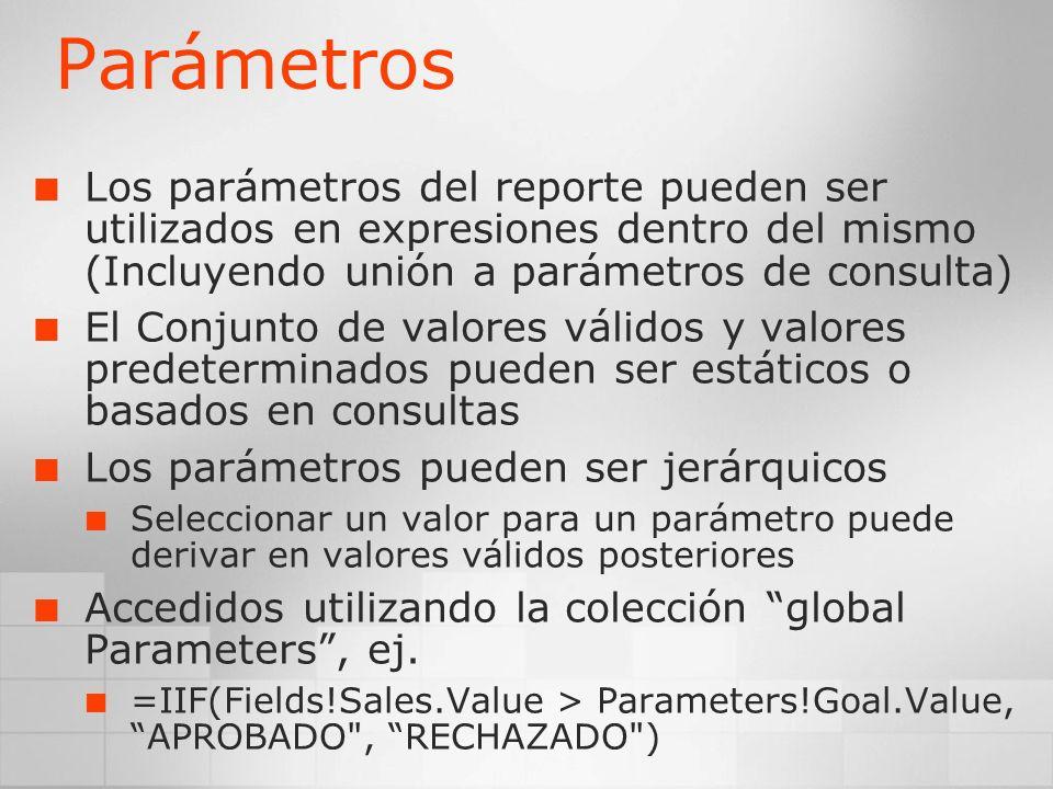 Parámetros Los parámetros del reporte pueden ser utilizados en expresiones dentro del mismo (Incluyendo unión a parámetros de consulta) El Conjunto de