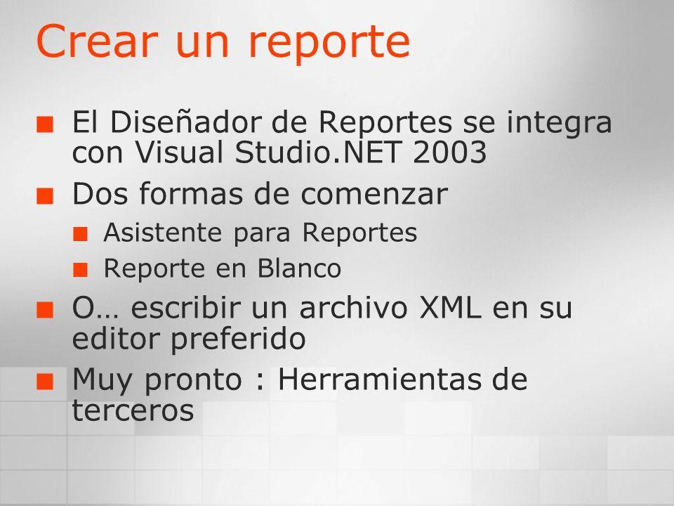 Crear un reporte El Diseñador de Reportes se integra con Visual Studio.NET 2003 Dos formas de comenzar Asistente para Reportes Reporte en Blanco O… es