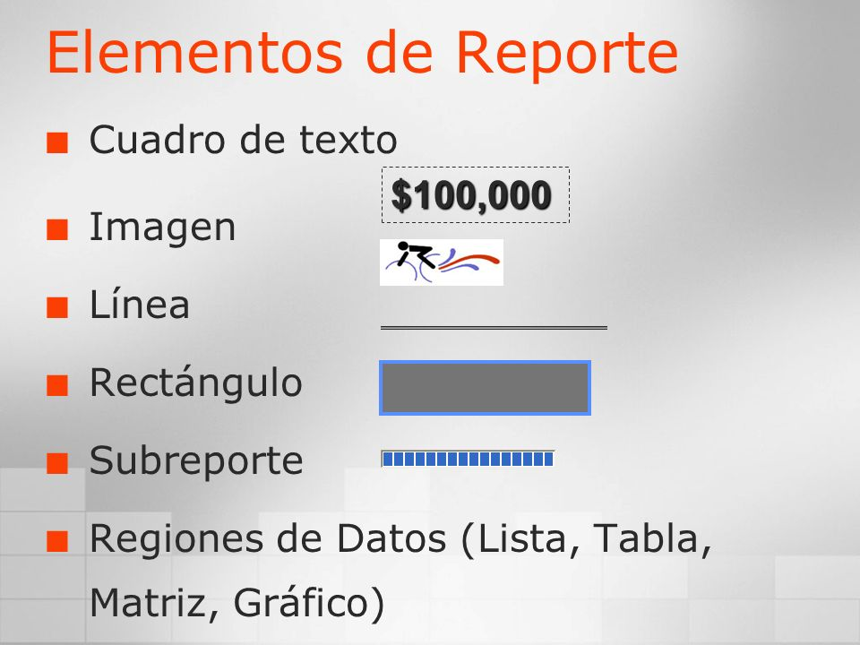 Elementos de Reporte Cuadro de texto Imagen Línea Rectángulo Subreporte Regiones de Datos (Lista, Tabla, Matriz, Gráfico) $100,000