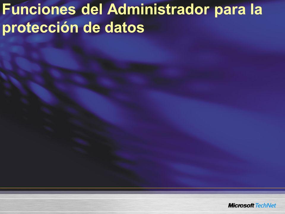 Funciones del Administrador para la protección de datos