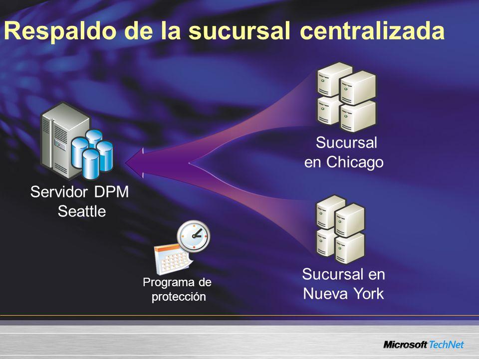Respaldo de la sucursal centralizada Servidor DPM Seattle Sucursal en Chicago Sucursal en Nueva York Programa de protección