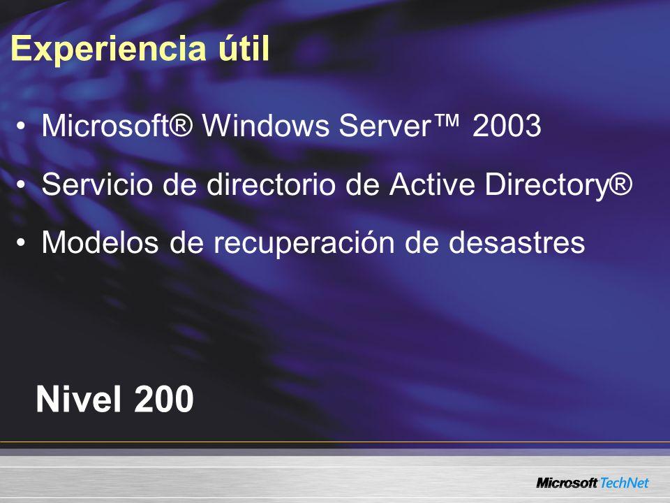 Experiencia útil Nivel 200 Microsoft® Windows Server 2003 Servicio de directorio de Active Directory® Modelos de recuperación de desastres
