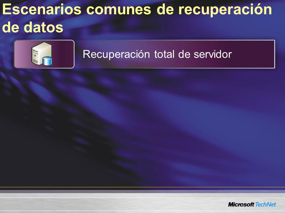 Escenarios comunes de recuperación de datos Recuperación total de servidor