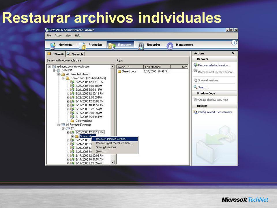 Restaurar archivos individuales