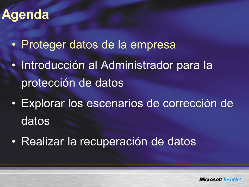 Proteger datos de la empresa Introducción al Administrador para la protección de datos Explorar los escenarios de corrección de datos Realizar la recuperación de datos Agenda