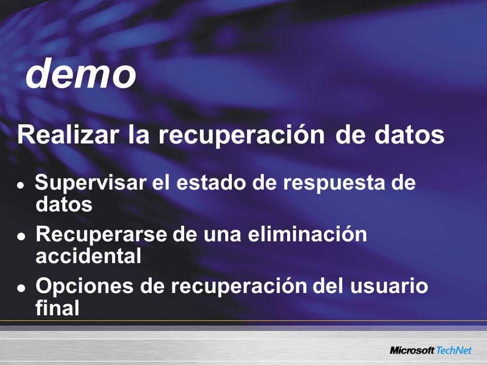 Demo Realizar la recuperación de datos Supervisar el estado de respuesta de datos Recuperarse de una eliminación accidental Opciones de recuperación del usuario final demo