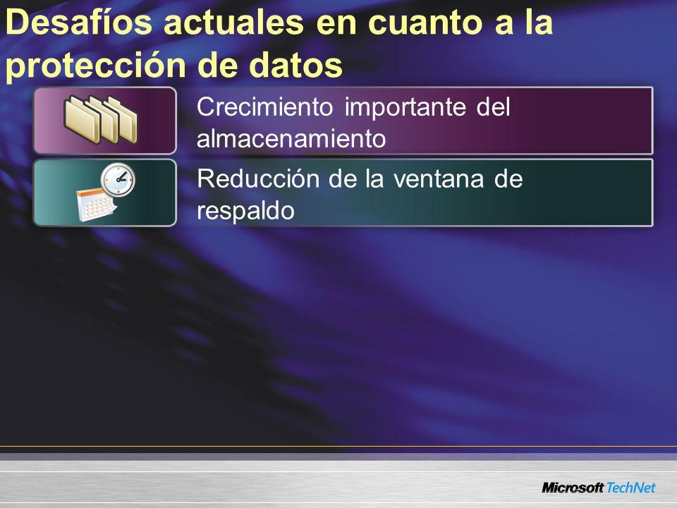Desafíos actuales en cuanto a la protección de datos Crecimiento importante del almacenamiento Reducción de la ventana de respaldo