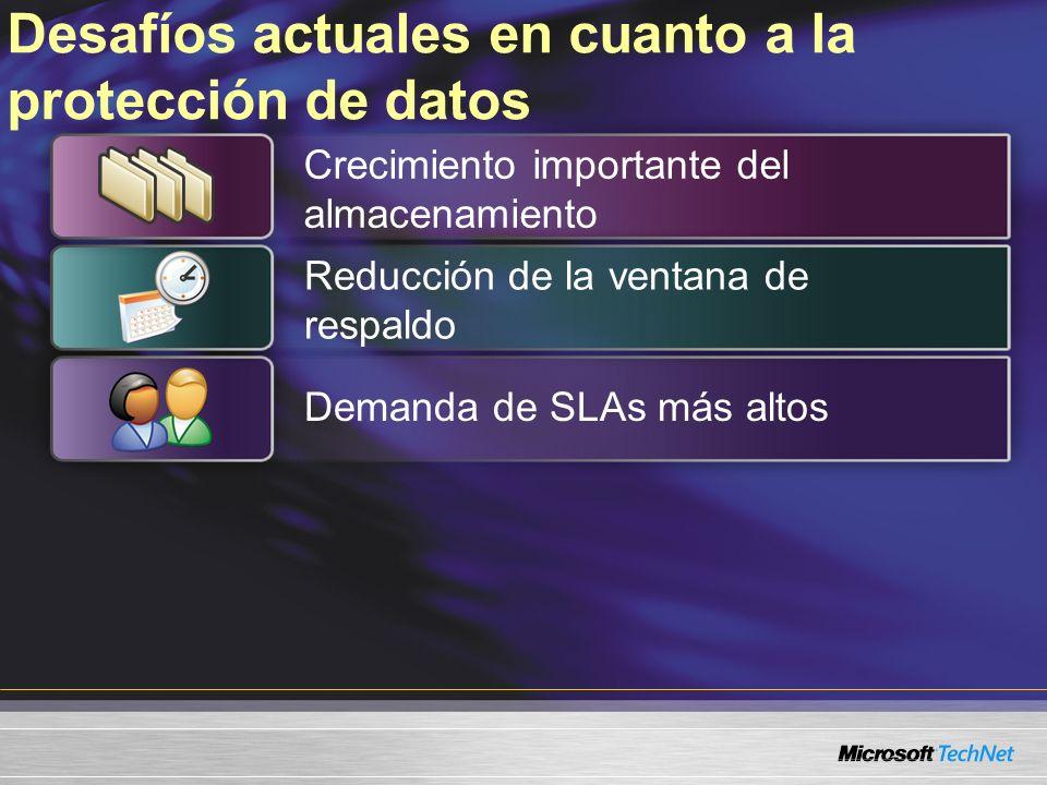 Desafíos actuales en cuanto a la protección de datos Demanda de SLAs más altos Crecimiento importante del almacenamiento Reducción de la ventana de respaldo