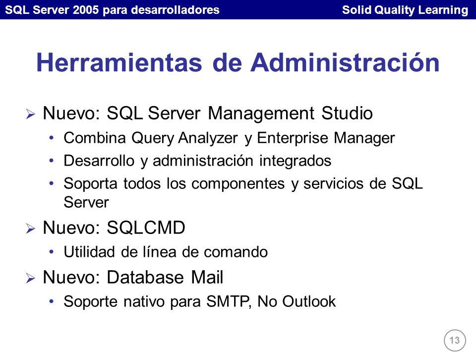 SQL Server 2005 para desarrolladores Solid Quality Learning 13 Nuevo: SQL Server Management Studio Combina Query Analyzer y Enterprise Manager Desarrollo y administración integrados Soporta todos los componentes y servicios de SQL Server Nuevo: SQLCMD Utilidad de línea de comando Nuevo: Database Mail Soporte nativo para SMTP, No Outlook Herramientas de Administración