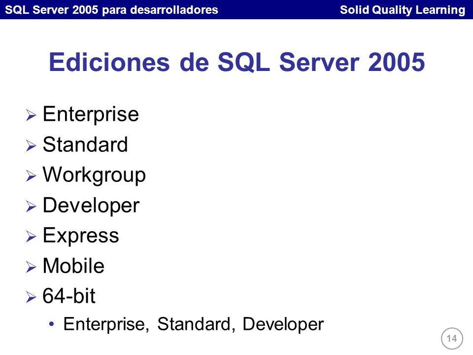 SQL Server 2005 para desarrolladores Solid Quality Learning 14 Enterprise Standard Workgroup Developer Express Mobile 64-bit Enterprise, Standard, Developer Ediciones de SQL Server 2005