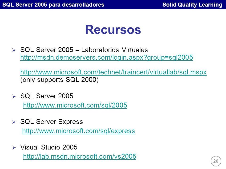 SQL Server 2005 para desarrolladores Solid Quality Learning 20 Recursos SQL Server 2005 – Laboratorios Virtuales http://msdn.demoservers.com/login.aspx group=sql2005 http://www.microsoft.com/technet/traincert/virtuallab/sql.mspx (only supports SQL 2000) http://msdn.demoservers.com/login.aspx group=sql2005 http://www.microsoft.com/technet/traincert/virtuallab/sql.mspx SQL Server 2005 http://www.microsoft.com/sql/2005 SQL Server Express http://www.microsoft.com/sql/express Visual Studio 2005 http://lab.msdn.microsoft.com/vs2005
