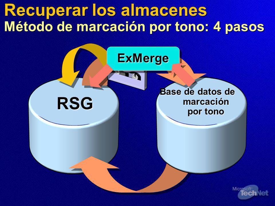 RSG Base de datos de marcación por tono Recuperar los almacenes Método de marcación por tono: 4 pasos ExMergeExMerge