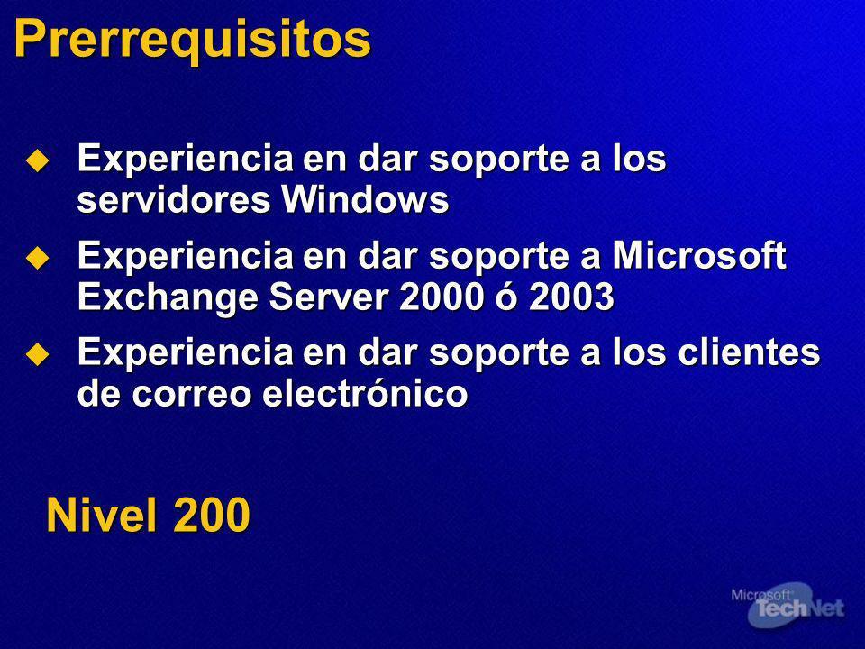Recuperación alterna del servidor Requisitos Respaldo del almacén de información Respaldo del almacén de información Windows Server y medios de Exchange Windows Server y medios de Exchange Hardware Hardware Tiempo Tiempo