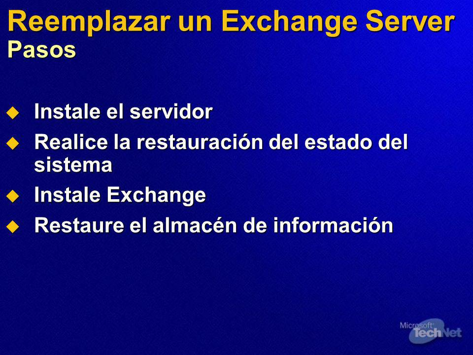 Reemplazar un Exchange Server Pasos Instale el servidor Instale el servidor Realice la restauración del estado del sistema Realice la restauración del estado del sistema Instale Exchange Instale Exchange Restaure el almacén de información Restaure el almacén de información