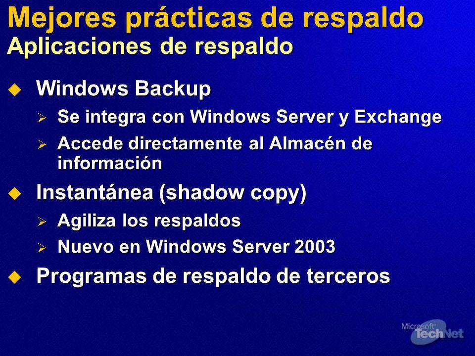 Mejores prácticas de respaldo Aplicaciones de respaldo Windows Backup Windows Backup Se integra con Windows Server y Exchange Se integra con Windows Server y Exchange Accede directamente al Almacén de información Accede directamente al Almacén de información Instantánea (shadow copy) Instantánea (shadow copy) Agiliza los respaldos Agiliza los respaldos Nuevo en Windows Server 2003 Nuevo en Windows Server 2003 Programas de respaldo de terceros Programas de respaldo de terceros