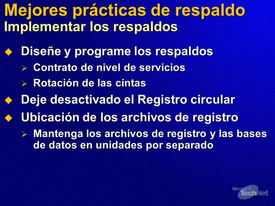 Mejores prácticas de respaldo Implementar los respaldos Diseñe y programe los respaldos Diseñe y programe los respaldos Contrato de nivel de servicios Contrato de nivel de servicios Rotación de las cintas Rotación de las cintas Deje desactivado el Registro circular Deje desactivado el Registro circular Ubicación de los archivos de registro Ubicación de los archivos de registro Mantenga los archivos de registro y las bases de datos en unidades por separado Mantenga los archivos de registro y las bases de datos en unidades por separado