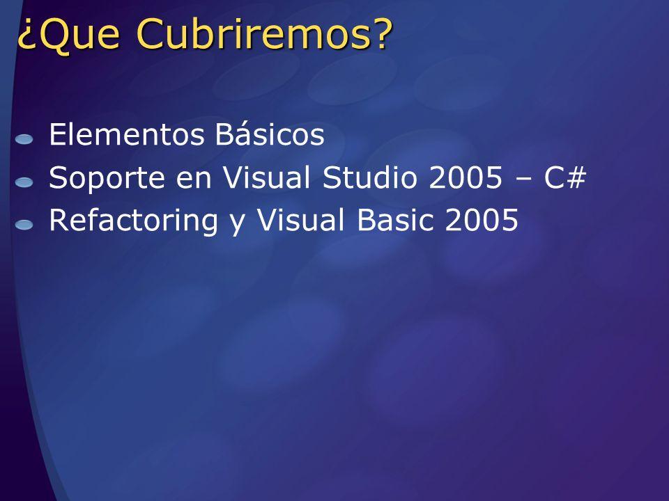 Agenda Elementos Básicos Soporte en Visual Studio 2005 – C# Refactoring y Visual Basic 2005